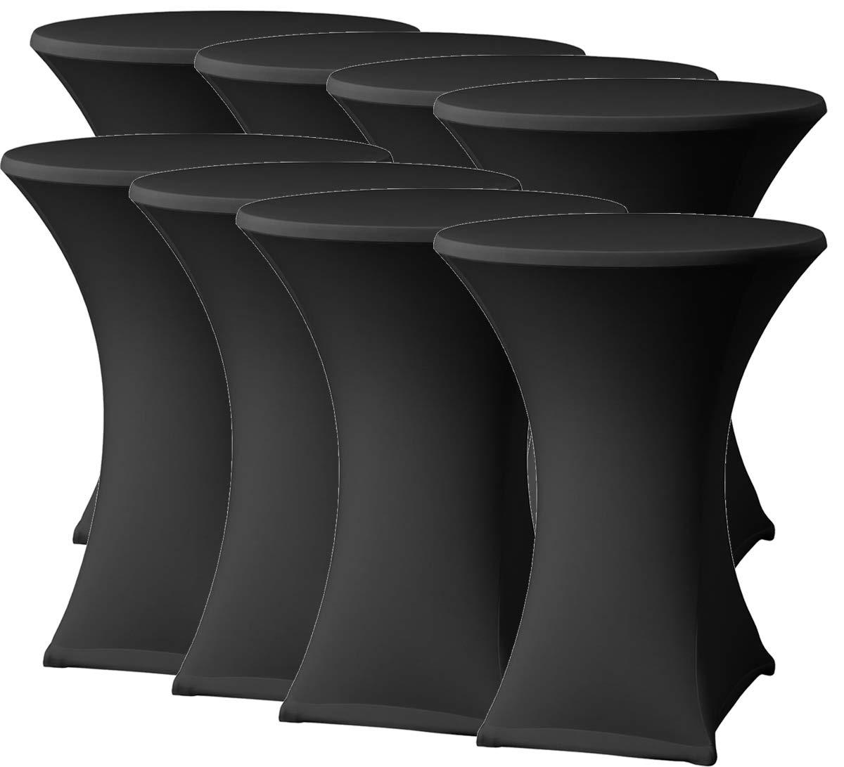 f/ête /à Cocktail Leertheorie Rock Table Mange-Debout en Tissu Stretch pour Table de bistrot 80-85 x 110 cm Convient pour Les h/ôtes d/év/énement Housse de Table Noir Mariage