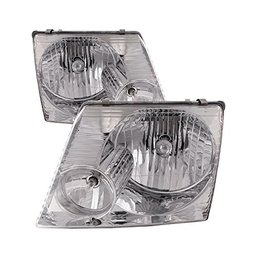 Ford Explorer Chrome Headlight - Headlights Depot Ford Explorer Chrome Headlights Headlamps Pair New Set