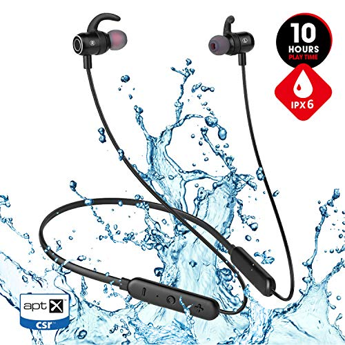 JT SOUND Bluetooth Headphones for Running Gym Workout, 2019 Best 10hrs Playtime Neckband IPX6 Waterproof Wireless Earbuds, Magnetic Bluetooth Sport Earbuds w/Mic,HD Stereo In-ear Earphones