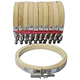SODIAL 10 Pieces 3inch 8cm Round Wooden Embroidery Hoops Set Adjustable Bamboo Circle Cross Stitch Hoop Ring