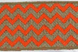 2.5'' x 10 Yards Chevron Design Natural Burlap Jute Ribbon (Orange)