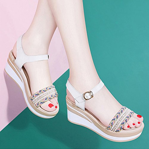 With Ladies With White Waterproof Shoes Toe ZHIFENGLIU Open Slope Summer Buckle Sandals Casual Women's Platform 505XwSq