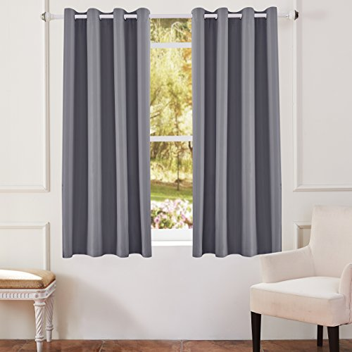 KEQIAOSUOCAI Flame Retardant/Resistant Blackout Room Darkening 250GSM Thermal Insulated Grommet Curtain for Bedroom Living Room 1 Panel(Gray,52Wx63L)