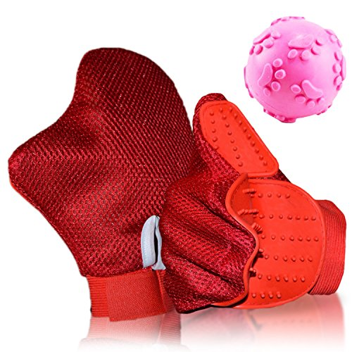 Cochop Red Cat Dog Hair & Fur Remover Mitt + Pet Toy - Pet Grooming Glove Brush - Massage, Shedding, Petting - For Cat Bath, Dog Wash - Pet Groomer For Long & Short Hair- Clean Furniture