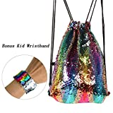 Sequins Drawstring Mermaid Backpack Glitter Double Side Color Sport Bag With Free Kid Wristband