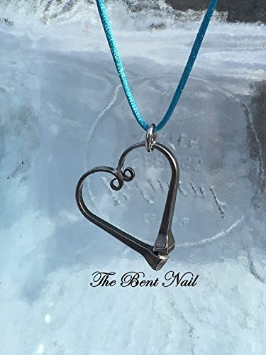 - Horseshoe Nail Heart Pendant Necklace made with Authentic Draft Size Horseshoe Nails Handmade in New Hampshire USA