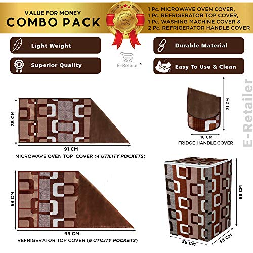 E-Retailer® Combo Set of 1Pc Fridge Top Cover with 6 Pockets, 2Pc Fridge Handle Cover, 1Pc Microwave-Oven Top Cover With 4 Pockets And 1Pc Top Load Washing Machine Cover (Brown, 5 Pc Set) 51BEKisRy8L India 2021