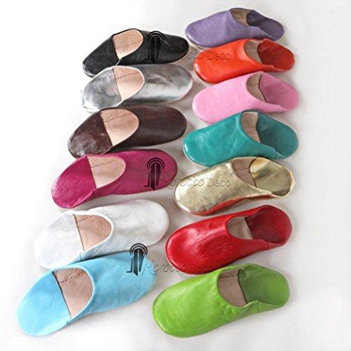 Babouche Kenza turquoise, Babouche marocaine en cuir véritable, pantoufles alliant du confort et de l'élégance, chaussons cousus