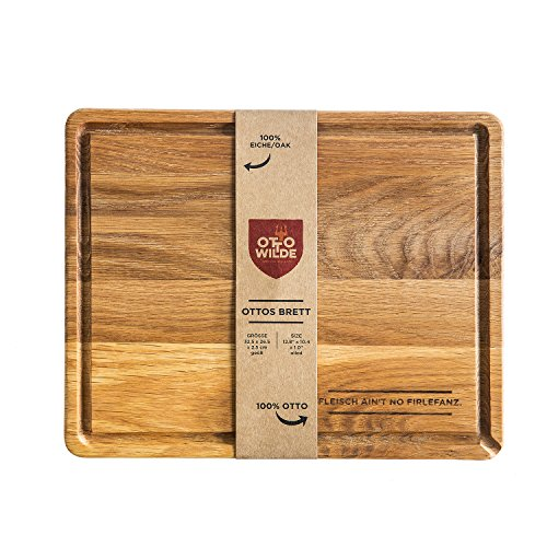 OTTO WILDE SERIOUS GRILLERS Original Otto Wilde Grillers Oak Cutting Board, made of Oak Wood, lubricated, with handy juice groove, 12.8 x 10.4 x 1 in ()