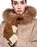 YISEVEN Women's Merino Rugged Sheepskin Shearling Leather Gloves Flip Fur Cuffs and Button Decoration Soft Thick Furry Lined for Winter Warm Heated Dress Driving Work Xmas Stylish Gifts, Camel S/M