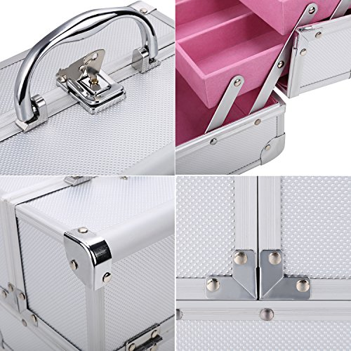 Extendable Portable Makeup Train Case Organizer with Mirror Jewelry Box Lockable Cosmetic Travel Case Organizer Storage Box with 2 Keys for Women, 7.8 x 6.05 x 6.05inch (Silver Pink) by Elopea (Image #4)
