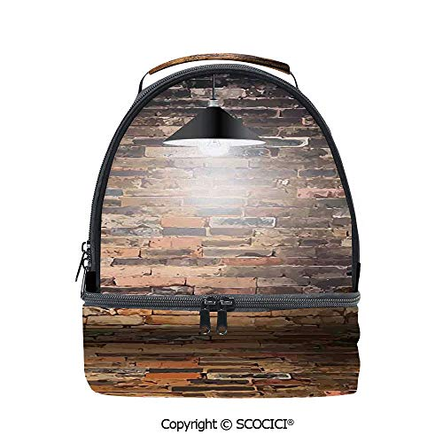 SCOCICI Large Capacity Durable Material Lunch Box Dark Cracked Bricks Ceiling Lamp Spot Light Life Building Urban City Image Multipurpose Adjustable Lunch Bag