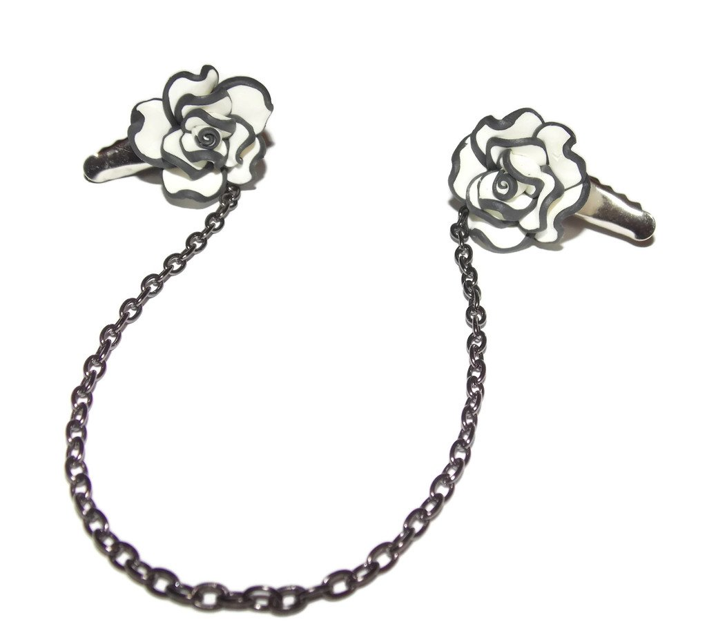 Old School Geekery Flower Collar Clips with Black and White Flowers on a Long 8 Inch Gunmetal Chain Sweater Clip Jewelry