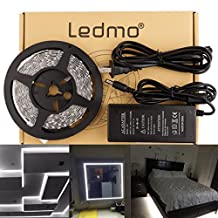 LEDMO SMD 5050 LED Strip Light, Non-Waterproof IP20, Daylight White 6000K,16.4Ft/5M LED Tape Light+12V 5A Adapter