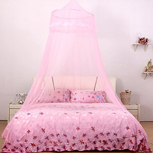 Elegant Lace Round Hoop Canopy Netting Mosquito Net Fit Twin Full Queen Bed Pink