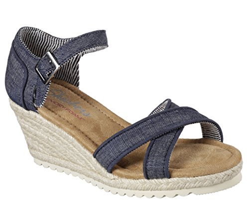 Skechers Monarchs Cocoon Womens Espadrille Wedge Sandals Denim 9