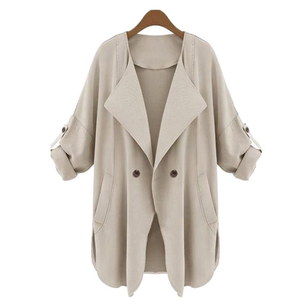 Women's Asymmetric Hem Cardigan Coat, Qisc Classic Open Front Drape Hem Coverup Coat Outwear (M, Khaki)