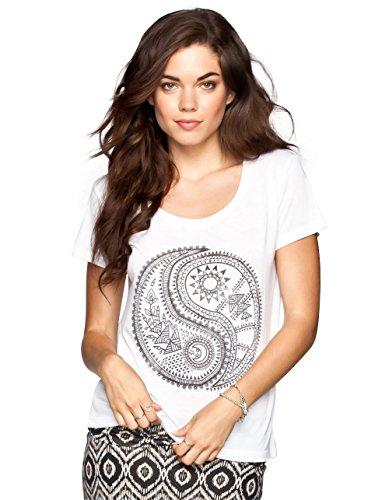 Billabong Womens Yin Yang Life Short-Sleeve Shirts, White, Small
