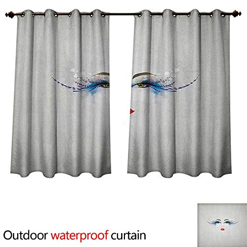 Anshesix Eyelash Outdoor Balcony Privacy Curtain Young Woman Face with Fantastic Makeup Dreamy Eyes and Red Lipstick Glamor Beauty W63 x L72(160cm x 183cm)