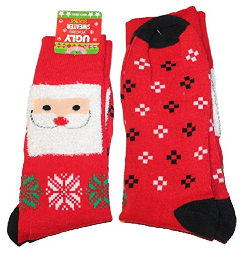 (Adult Ugly Christmas Holiday Sweater Socks Mens Size 10-13 (Red-Santa))