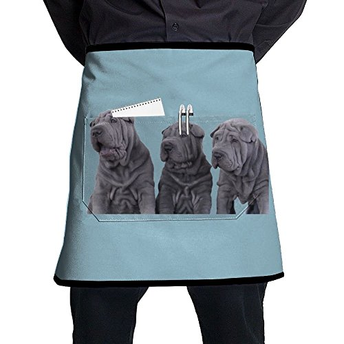 Nicokee Chef Aprons Three Shar Pei Dogs Waist Tie Half Bistro Apron For Home Kitchen Cooking