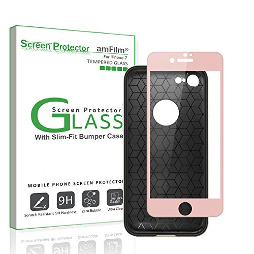 iPhone 7 Screen Protector Glass (Full Coverage) with Compatible Slim-Fit Bumper Case,...