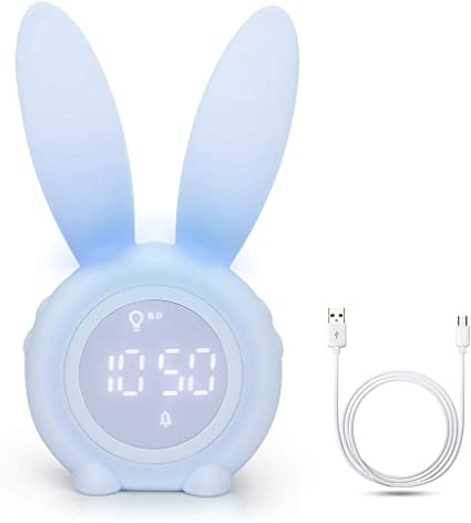 boomprospect Rabbit Bunny Wake Up Light Alarm Clock Kids Night Light Digital Night Light Clock Bedside Table Decoration Rechargeable