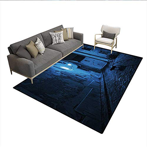 Carpet,Black Cat Crossing Deserted Street at Night Mysterious Old European Town Alley,Indoor Outdoor Rug,Blue Black -