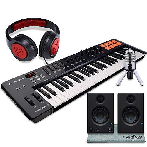 M-Audio Oxygen 49 MK IV 49-Key USB MIDI Keyboard/Drum Pad Controller with VIP Software Download, Presonus Eris E3.5 Monitors, Deluxe Bundle (Kits Download Drum)