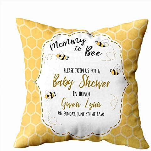 Anucky Square Pillow Case Covers,Baby Pillow Cover Case Baby Shower Invitation Template Text Mommy Bee Honey Cute Card Design Girls Boys Bees Safa 20X20 Inch Decorative Pillow Covers