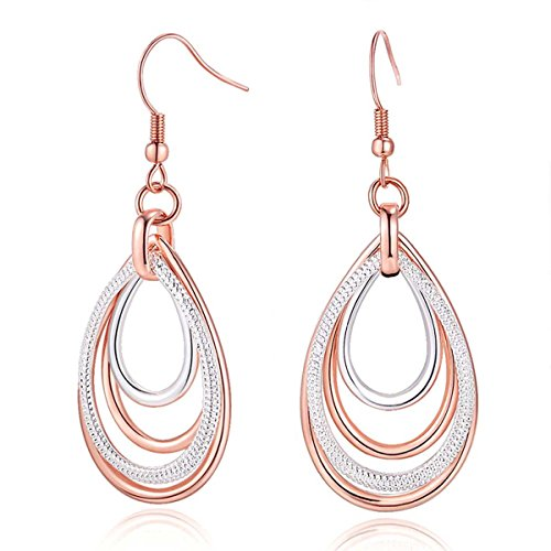 Two Tone Dangling Heart (Carfeny Rose Gold and Silver Earrings Two Tone Dangle Earrings, Multilayer Heart Shaped Teardrop Earrings for Women, Hypoallergenic Earring ❤Girls Women Jewelry Gift❤)