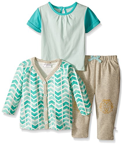 UPC 655998445984, Rosie Pope Little Girls 3 Piece Printed Jersey Top, French Terry Cardigan and Pant, Glacier, 12 Months