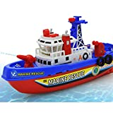 O-Toys Automatic Boat Bath Toys for Kids Beach Fireboat Squirter Toy Bathtub Pump Water Spray Toy Float Ship for Swimming Pool