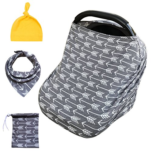 5 in 1 Multifunctional Baby Car Seat Cover, Infant Car Seat Canopy, Shopping Cart, Stroller, Carseat Covers, Nursing Breastfeeding Cover for Girls and Boys (Arrow)