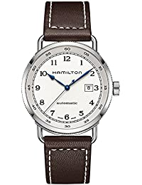 Khaki Navy Pioneer Silver Dial SS Leather Automatic Men Watch H77715553