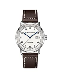Hamilton Khaki Navy Pioneer Automatic Silver Dial Brown Leather Mens Watch H77715553