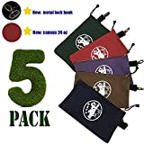 "5 Pack - Heavy Duty 24 oz- Canvas Tool Bags with Dependable Metal Zippers- Metal Lock Hook ,Organize Smarter & More Efficiently with Durable Storage,12.5"" x 7"" Pouch, Easily Sorts Supplies"
