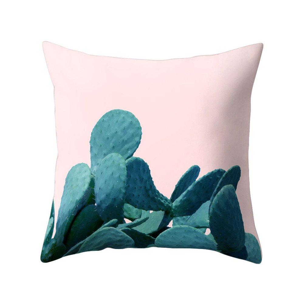 Funda de cojín con diseño impreso de cactus para decorar el sofá o la cama, 1#, 17.72 x 17.72 17.72 x 17.72 display08