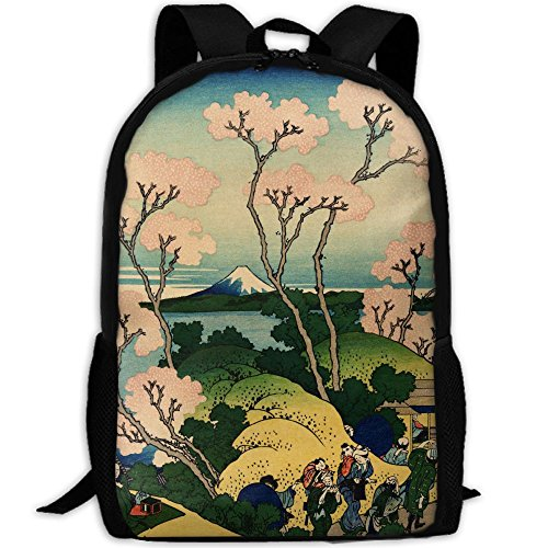 Hokusai Japan Ink Cherry Blossom Mount Fuji Unique Outdoor Shoulders Bag Fabric Backpack Multipurpose Daypacks For (Fuji Fabric)