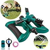 Lawn Sprinkler Automatic Sprinklers For Garden Water Sprinklers For Lawns 360 Rotating Adjustable Lawn Irrigation System Watering Sprinkler for Kids Covering Large Area Leak Design Durable 3 Arm