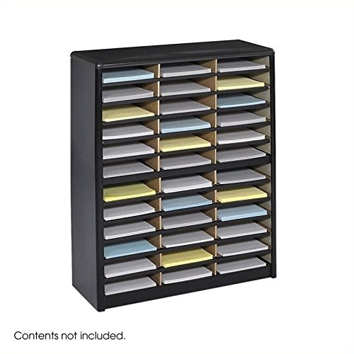Scranton & Co 36 Compartment Metal Flat Files Organizer in Black