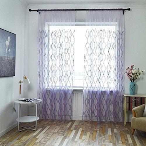 Sothread 1 PCS Beautiful Flower Tulle Door Window Curtain Voile Drape Panel Sheer Valances (Purple Vine leaves) Vine Designs Bar