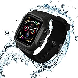 VANCHAN Compatible with Waterproof Apple Watch Case Band 44mm Series 4, IP68 Waterproof Protective Cover Soft Band for Iwatch Series 4 44mm (Black)