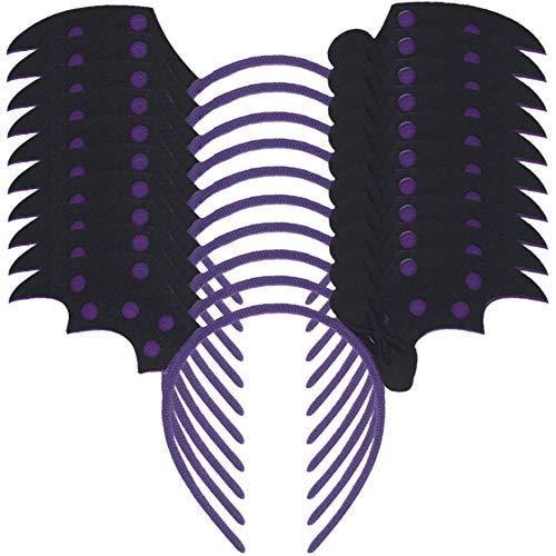 CeeDeek 10 Pack Halloween Headwear Costume Hair Hoop with Pumpkin Skull (Purple Bat)]()
