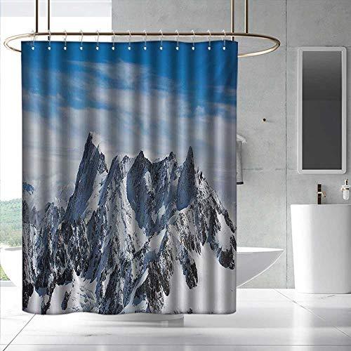 Mont Blanc Skeleton - Fakgod Landscape Printed Pattern Shower Curtain Picturesque Mont Blanc Cliff to Clouds Idyllic Environment Trekking Landmark Bathroom Decoration W48 x L84 White Blue