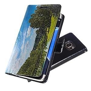 Paisajes 10053, Bosque, Negro Funda de Piel Cuero Case Magnética con Función de Soporte Carcasa con Diseño Texturado para Samsung Galaxy S7 Edge