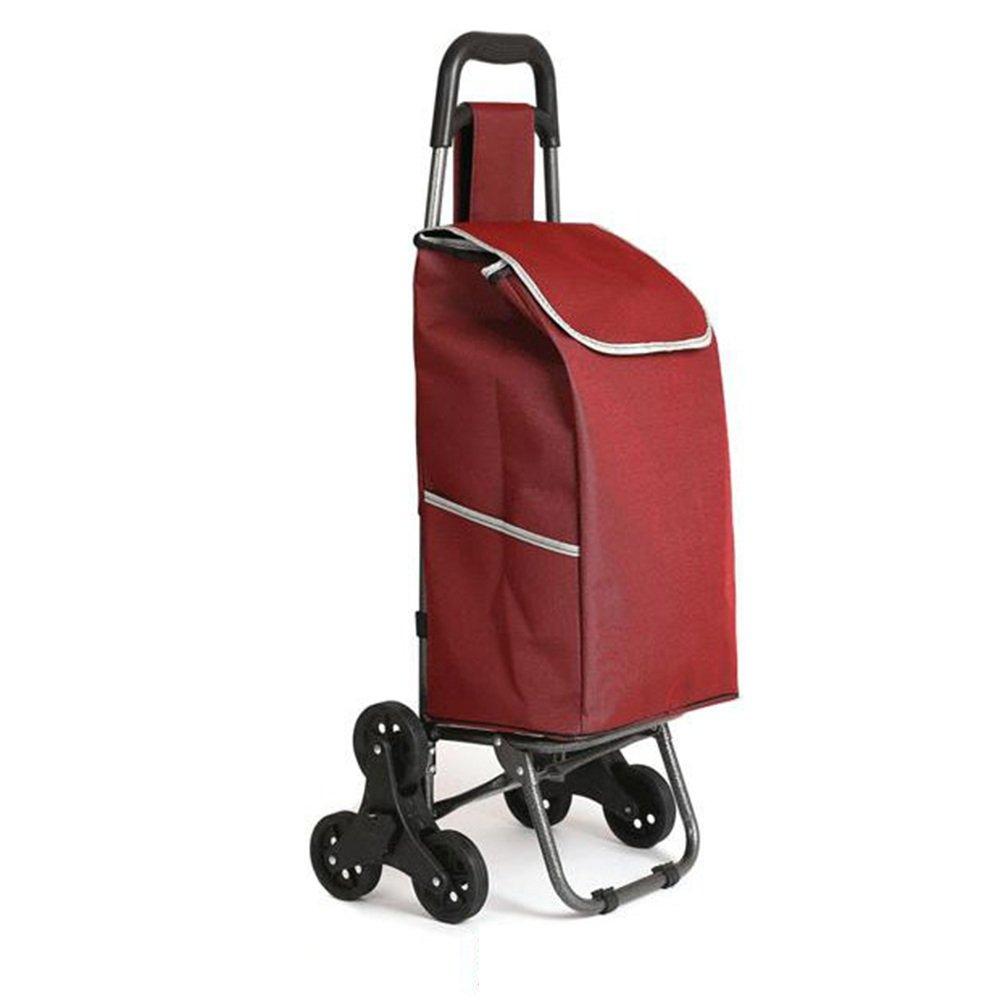 ハンドカート 三輪車折りたたみカート、トロリー階段クライミング車ワゴン洗濯車輪付きベアリング、階段の上下93 * 34 * 18cm トロリー (色 : Red) B07F7LZDV5 Red Red