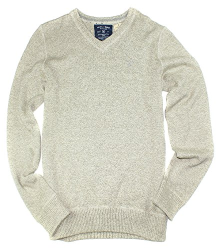 American Eagle Men's Chunky V-Neck Sweater M2 (Grey, XX-Large) (Eagle Cotton American Sweater)