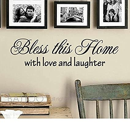 Amazon.com: BATTOO Bless This Home Wall Decal Vinyl Wall Art Decal ...