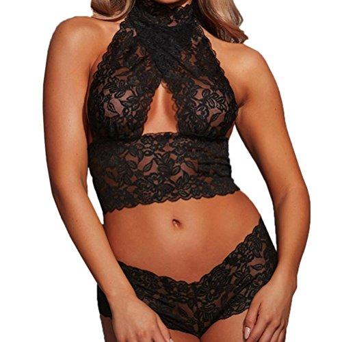 Women Sexy Pajamas Sets Underwear Suit , Valentine's Day Lace Racy Underwear Temptation Jumpsuit (Black, M) (Stripes Racy)